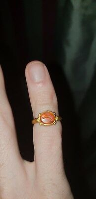 Roman Gold Ring with carnelian intaglio showing runing hare 2nd/3rd century