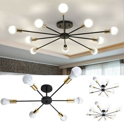 E27 6/8 Lights Vintage Industrial Edison Barn Metal Flush Mount Ceiling Lamp