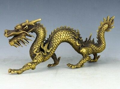Chinese Feng Shui Brass Ancient mythical dragon god beast statue Azure Dragon