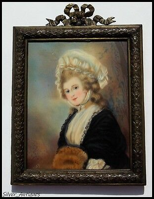 GEORGIAN SIGNED ENGLISH SCHOOL PORTRAIT MINIATURE ( Mrs Robinson ) after ROMNEY