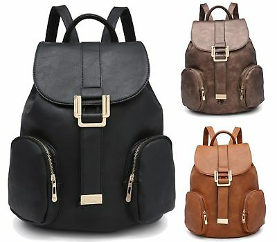 334c4e7111 Rucksack Womens Backpack Travel Shoulder Bag Girls Ladies PU Leather Zip  Fashion