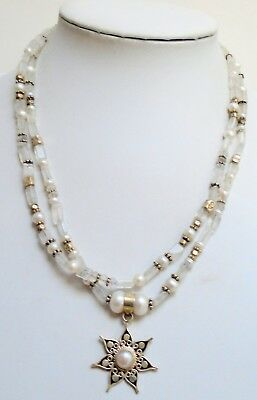 Fine vintage sterling silver, cultured pearl & moonstone bead pendant necklace