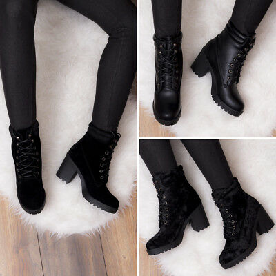 d67c831dbb4e9 SPYLOVEBUY TAKE KUDOS Lace Up Block Heel Ankle Boots Shoes -  41.51 ...