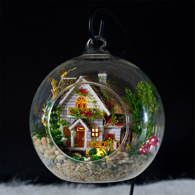 3D DIY Mini Glass Dollhouse Ball Miniature LED Light Doll House Decor Ornaments