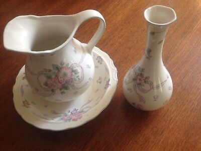 Jug and bowl with matching bud vase in blue/pink floral/bow design; decorative