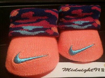 Nike Air Baby Girl Newborn Infant Camo Booties 0-6M. Coral, Turquoise, Burgundy