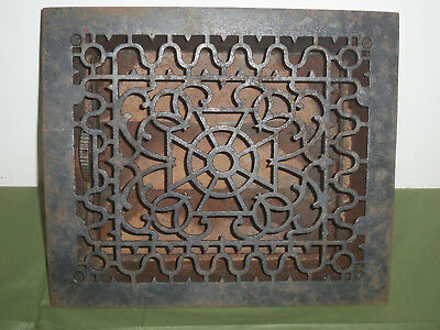 """Vintage Cast Iron Heat Register Grate With Louvers, 14"""" X 12"""""""