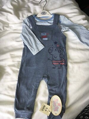 New 6-9 George Pig Baby Boy Dungaree Vest Top Outfit Gift Set With Tags Peppa