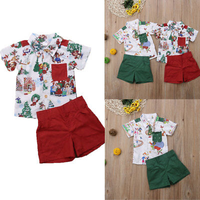 Cute Christmas Toddler Baby Kids Boy T Shirt Top+Short Pants Outfits Clothes Set