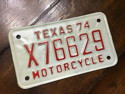 Texas 1974 License Plate -- X63369 -- Motorcycle