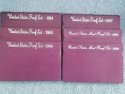 Large Lot of US Proof Sets 1984S, 1985S, 1986S, 1987S, 1988S, 1989S