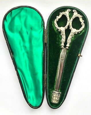 Antique Victorian Cased Sterling Silver Sewing Set - Scissors & Thimble - 1898