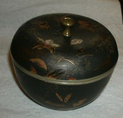 Oriental Lacquered Metal Bowl with Lid/9 cm tall x 11 cm