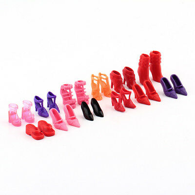 BL_ 12 Pairs Mix High Heel Shoes Boots for Barbie Doll Dresses Clothes Gift Dulc