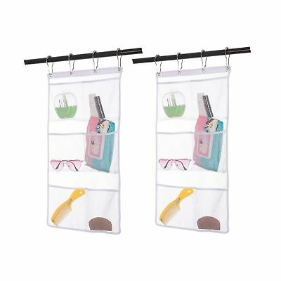 2 Pack Hanging Mesh Shower Caddy Organizer with 6 Pockets, Shower Curtain Rod...