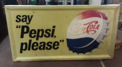 "Vintage Large 'Say Pepsi (Cola) Please' Tin Sign 67""x35""x1"" M-162 1960s?"