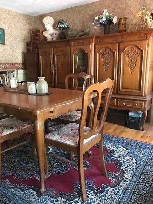 Antique Country French Oak Parquet Dining Table w/6 chairs, hutch & liquor hutch