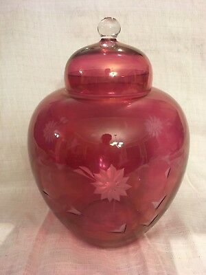 Large Etched Cranberry Glass Ginger Jar with Lid