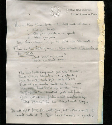 WW1 GHQ France draft letter with Poem re Gas Attacks