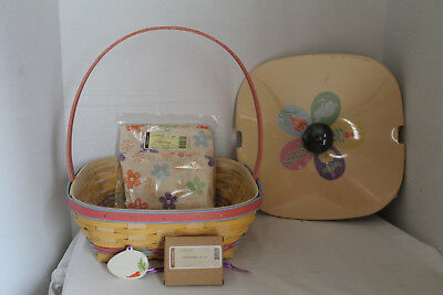 New 2013  Longaberger Easter Basket,  Fabric, Protector, Tie-On, Lid