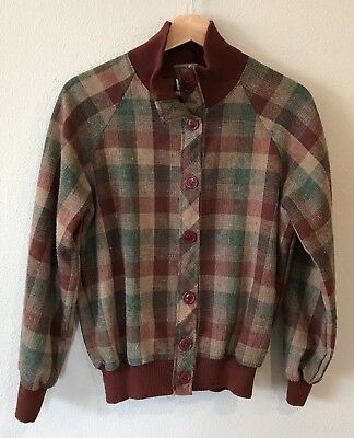 Vintage You and i Womens M Sweater Coat Blazer Jacket Plaid Button Front Wool