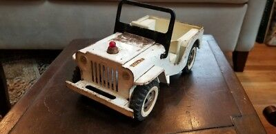 Vintage 1960's Tonka AAA Jeep Rare Color White - NR