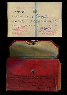 WW1 Pvte G.H.Fuller 2/5th Royal Sussex Regiment Discharge Certificate +Ephemera