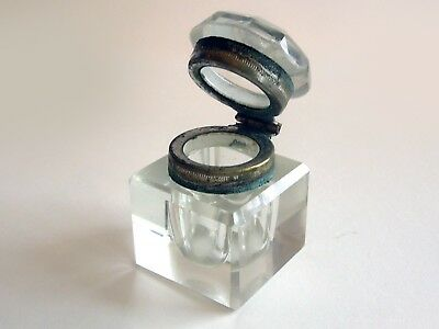 Antique Crystal Inkwell with Nice Clean Facets and Lines