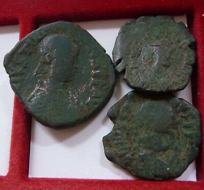 Lot of Byzantine bronze follis and halves Justinian