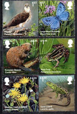 GB Stamps 2018 Reintroduced Species Set of 6 MNH
