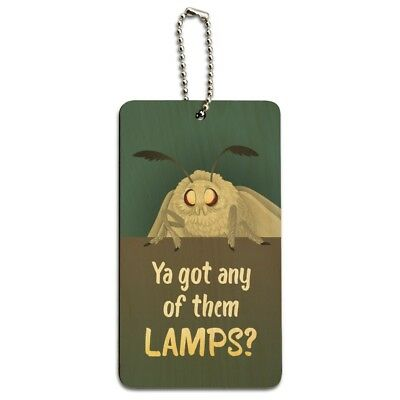 Moth Lamp Meme Wood Luggage Card Suitcase Carry-On ID Tag