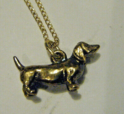 "JMF CUTEST DOXIE DACHSHUND DOG VTG 1980s 3/4"" VERMEIL STERLING PENDANT & CHAIN"