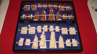 Vintage Oriental Asian *Chess Set* Hand Carved  Pieces Chinese