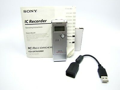 Sony Handheld Digital Voice MP3 IC Recorder Model No. ICD-UX70 USB Tested Works