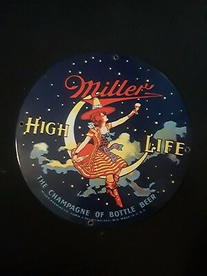 Miller High Life Girl in Moon Round Metal Sign Vintage Beer and Bar Decor 14