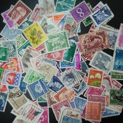 100 PCS/LOT All Different  Old / Vintage  Postage  Stamps Brand With Post  Mark