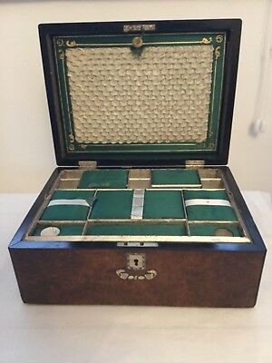 Antique Victorian Walnut Fitted Sewing Box. M.O.P inlay.  For restoration.