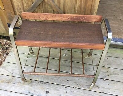 Mid Century Cart Rolling Record Bar TV Danish Modern MCM Vtg Wood Metal