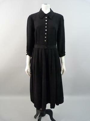 Elegant 1940s dress in jacquard weave crepe with feature buttons -  UK 12 / 14