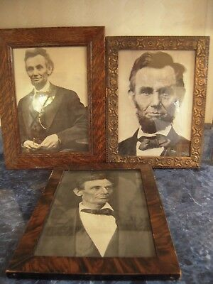 3 Vintage Abraham Abe Lincoln Pictures 1 Beardless Print Wood Frames With Glass