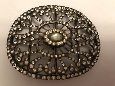 Heavy Antique Victorian 1890's silver plated paste dress buckle. 2 3/4""