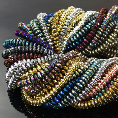 """Multi Color Faceted Smooth Rondelle Hematite Gemstone Spacer Beads Strand 15.5"""""""