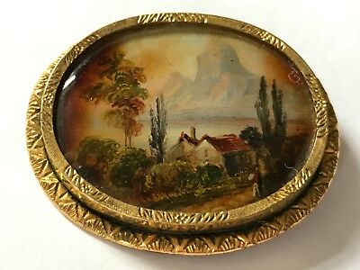 Antique Georgian Victorian pinchbeck oil painting landscape brooch pin