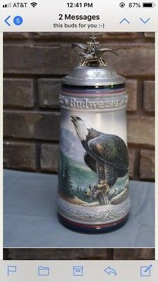 budweiser stein , Birds Of Prey,1991 Bald Eagle