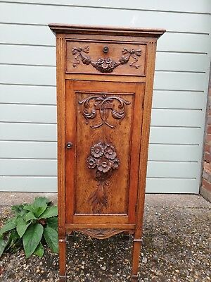 Antique vintage Arts and Crafts hand carved Oak cabinet with filing drawers