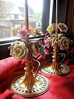 Pair Quality Antique German Gilt Ormolu Bronze Lamp with Porcelain Flowers