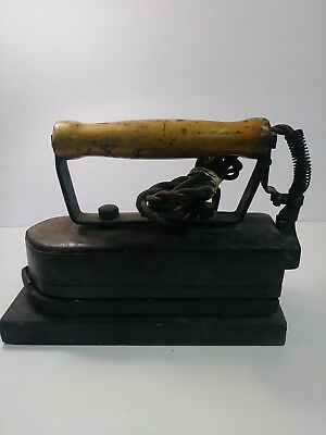 Antique Wooden Handle Electric Cast Iron HEAVY Commercial IRON w/ Stand