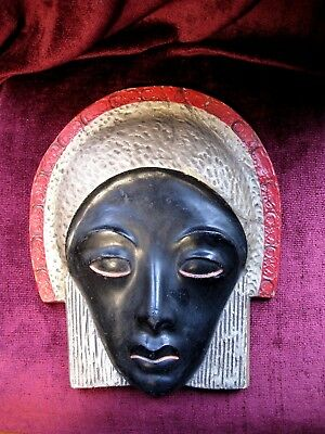 Stunning Original French Art Deco Wall Mask - signed on reverse - 1933.