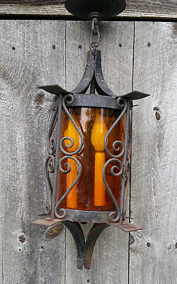 Vintage Black Wrought Iron Spanish Exterior Porch Ceiling Light Lamp Amber Glass