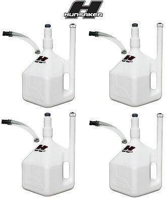 Qty 4: Hunsaker USA 5 Gallon QuikFill Gas Cans - Racing Fuel Jugs w/ 4 Hose Kits